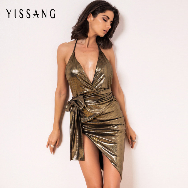 445e76f91aafb US $19.19 40% OFF|Yissang 2017 Women Evening Party Bandage Dress Spaghetti  Strap Halter Sexy Celebrity Bodycon Dresses Club Wear Elastic Vestidos-in  ...