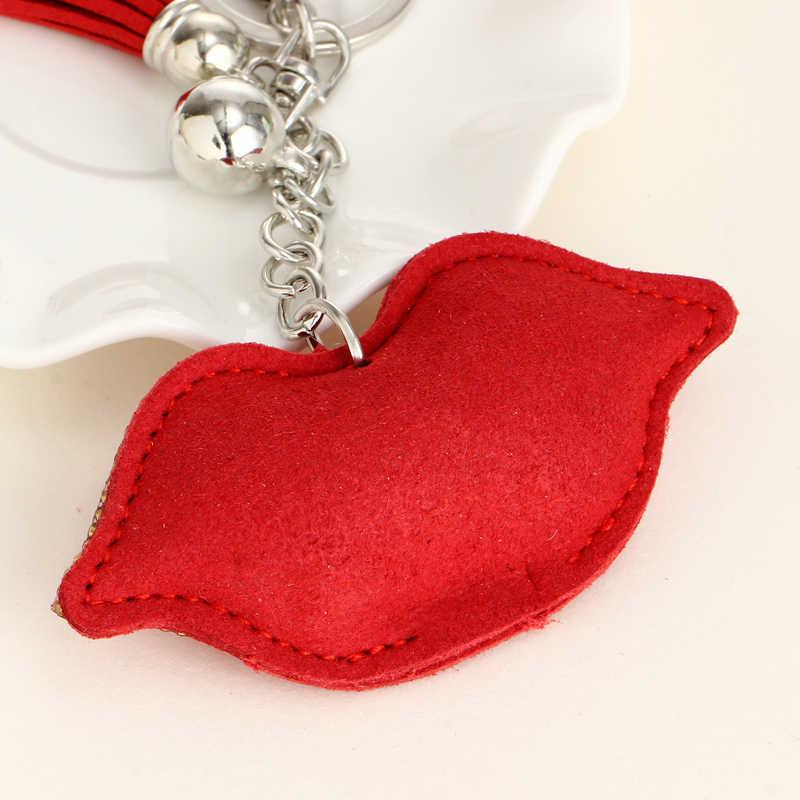 Модный кристалл брелок для ключей сумка для автомобиля рождественский подарок брелки брелок для ключей Кожа красные губы брелок для ключей