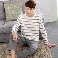 Cotton Pajama Sets For Men Casual Striped Pajamas Home Clothing Pijama Long Pants Sleepwear Pyjamas Two