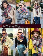 Winter Tartan Scarf Desigual Plaid Cashmere Pashmina Unisex Shawls Women's Scarves Big Size 145 *145 CM Bandanas Free Shipping