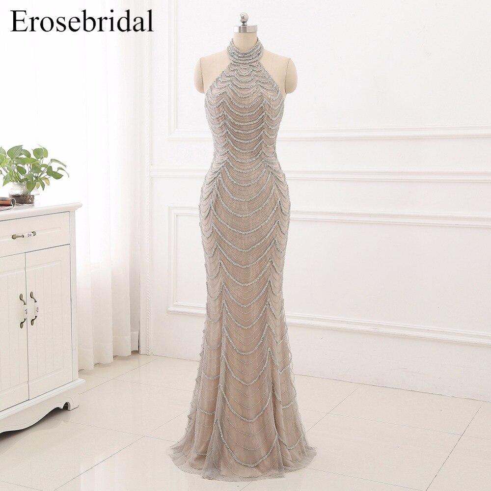 2018 Sirène robes De soirée Longue Erosebridal Ruban Perles De L'épaule De Bal Robe De fête Dos Ouvert Robe De Soire ZCC03