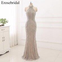 2019 Mermaid Evening Dresses Long Erosebridal Sliver Beading Off The Shoulder Prom Party Gowns Open Back Robe De Soire ZCC03