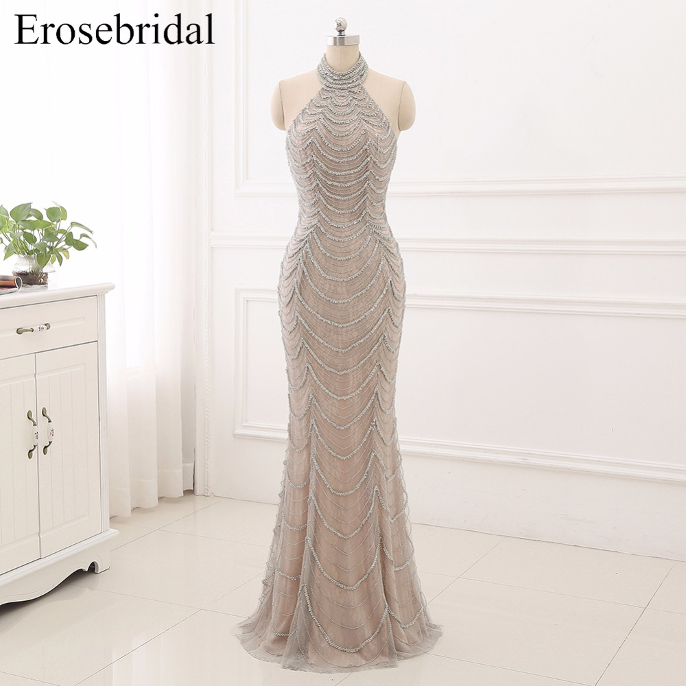 2019 Mermaid   Evening     Dresses   Long Erosebridal Sliver Beading Off The Shoulder Prom Party Gowns Open Back Robe De Soire ZCC03