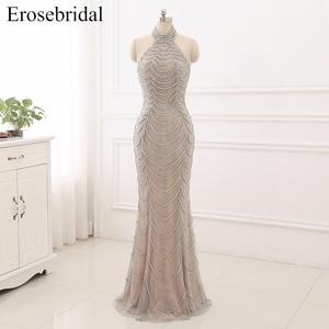 Image 1 - 2019 Mermaid suknie wieczorowe długie Erosebridal Sliver frezowanie Off The Shoulder Prom sukienki na przyjęcie bez pleców Robe De Soire ZCC03