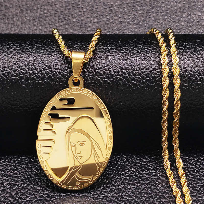 2019 The Virgin Mary Stainless Steel Long Necklace Men Jewerly Gold Color Choker Necklace Hip Hop Jewelry collares hombre N17850
