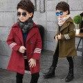 2017 новый Мальчик шерстяные пальто Куртки дети пальто шерсти Верхней Одежды Большой ребенок осенью и зимой одежда 5-11 год