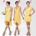 Diseño mixto banquete de boda de playa vestidos de amarillo hermoso corto de dama de honor vestidos