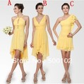 Mixed Design Beach Wedding Party Gowns Yellow Beautiful Short Bridesmaid Dresses
