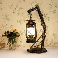 Retro decorativo Parede lâmpada Lâmpadas quarto lâmpada lâmpadas estudo criativo ferro Do Vintage lanterna de querosene clássico LU815297 Luminárias de parede     -