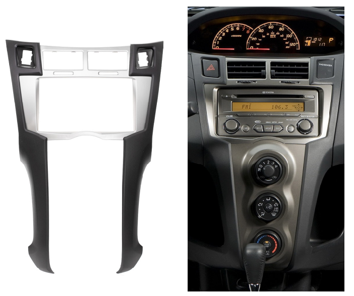 Double Din fascia for Toyota Yaris Vitz Platz Radio DVD Stereo Panel Dash Mounting Installation Trim Kit Frame Bezel