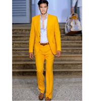 New Arrival High Quality Notch Lapel Men Tuxedos Yellow Wedding Suits For Men Slim Fit Groomsmen Suits Formal Men