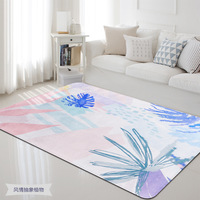 Brief European Style Carpets for Living Room Green Tropical Printed Parlor Bedroom Chair Rug Toilet Bath Decorate Non slip Mat