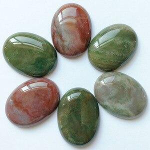 Image 3 - Cuentas de piedra natural para la fabricación de joyas, cabujón ovalado, 30x40MM, sin abalorio, anillos mixtos, accesorios, 12 Uds.