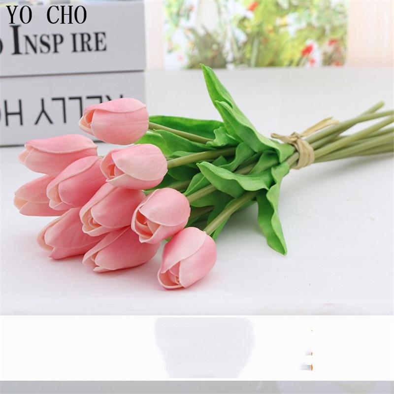 YO CHO 3 unids Mini Tulipanes Flores Artificiales PU Toque Real Flor - Para fiestas y celebraciones - foto 4