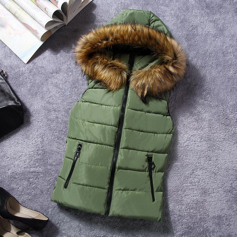 ZG1A3367 - Womens Puffer Vest Faux Fur Vest With Hood Arrival Winter