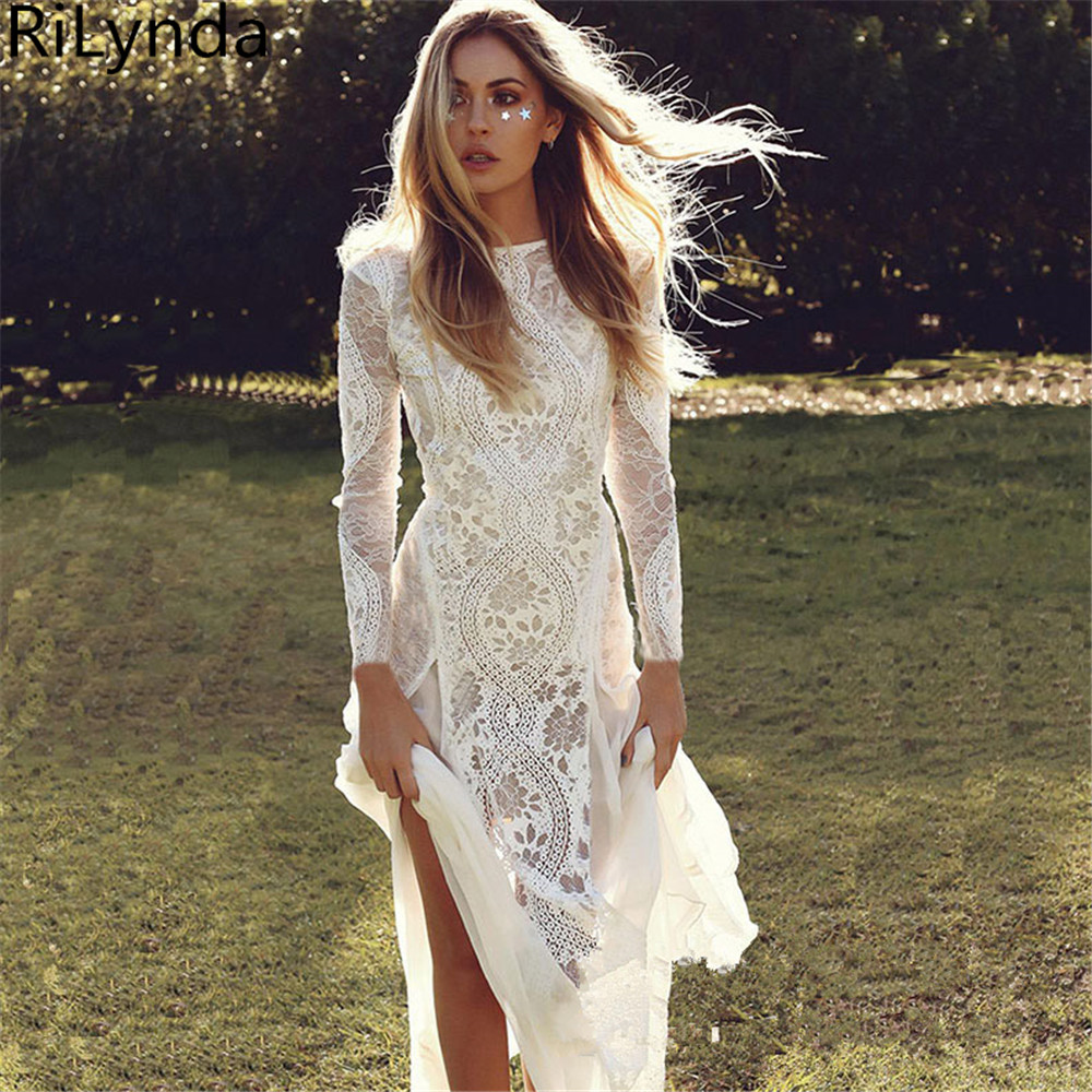 New Long Sleeve Wedding Dresses Turkey Scoop Lace Appliqued A line Bridal Gown with Pockets Vestidos