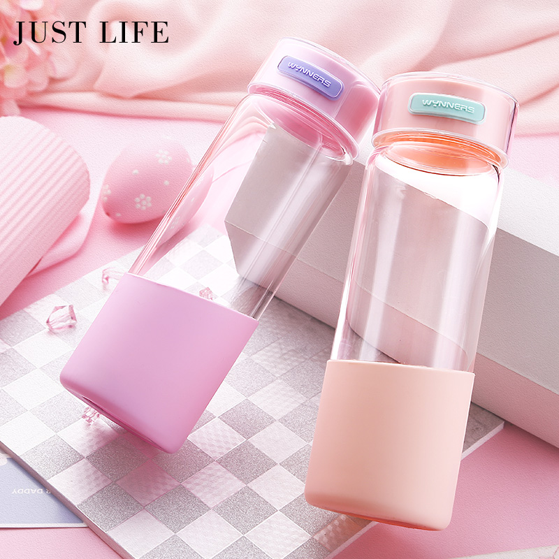 500ml My Water Bottle Brief Direct Drinking Eco-friendly Glass Water Bottle with Lid Hiking Gift Candy Colors Leakproof