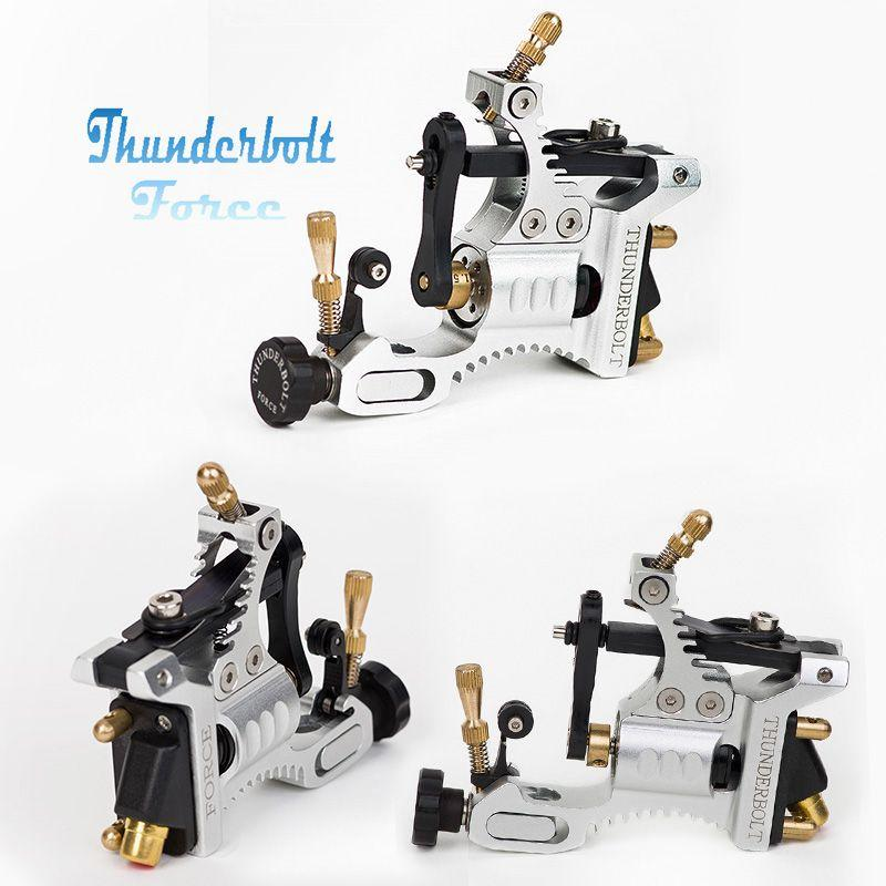 EZ Thunderbolt Force Rotary Tattoo Machine Gun Kit Aircraft aluminum Tattoo Machine for Lining Shading Black Silver