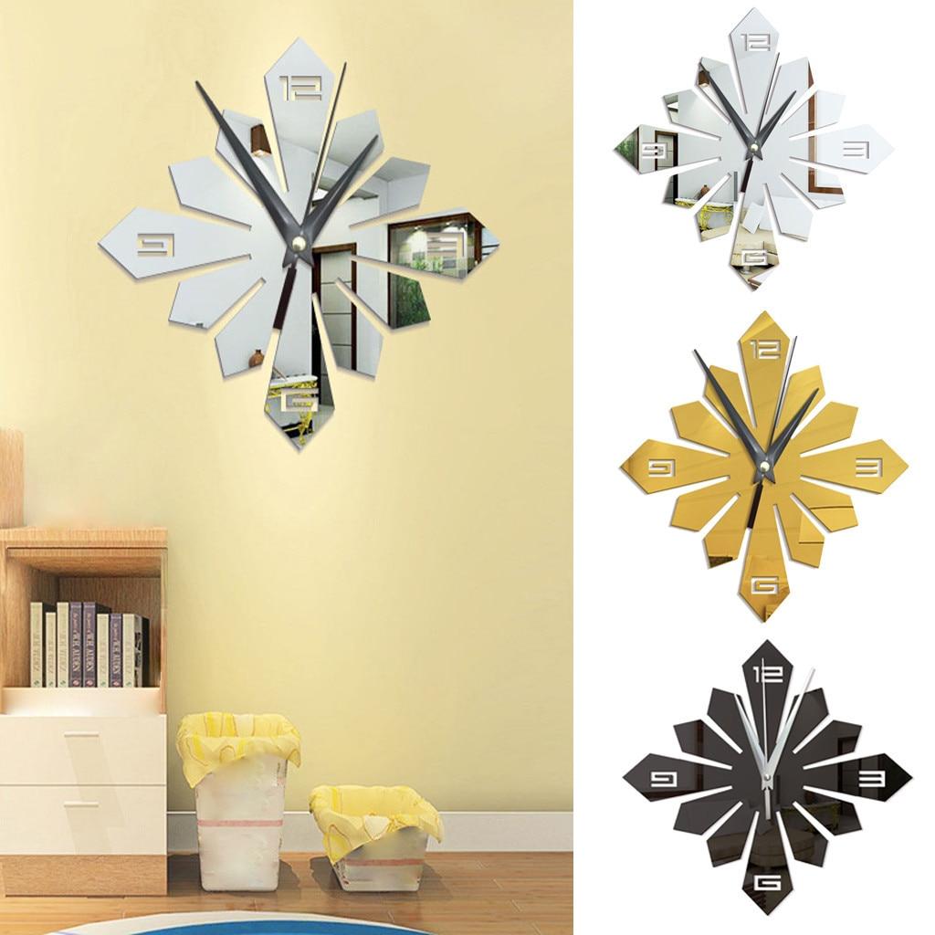 Modern Large Wall Clock Art Design DIY 3D Mirror Surface Sticker Home Decor DIY