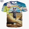 Mr'1991 new youth 3D cute super powers cartoon cat t-shirt for boys fashion girls 3D t shirt big kids 11-20 years t shirt  A8