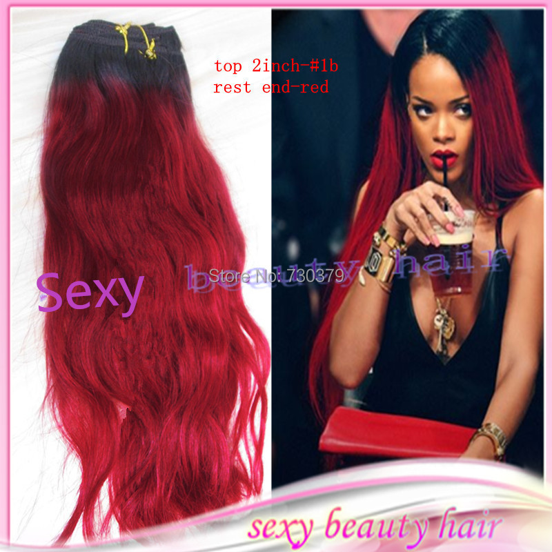Ombre virgin brazilian 2 two tone human hair weaving weft ombre virgin brazilian 2 two tone human hair weaving weft extensionsrihanna style 1b red dark root ombre straight hair weave on aliexpress alibaba pmusecretfo Choice Image