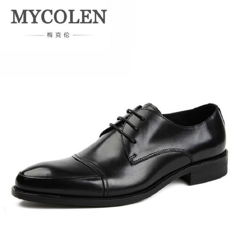 MYCOLEN 2017 New Men Oxfords For Men Dress Shoes Business Casual Leather Shoes Lace Up Breathable Minimalist Style Men Shoes bimuduiyu new england style men s carrefour flat casual shoes minimalist breathable soft leisure men lazy drivng walking loafer