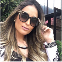 Badtemper New 2017 Classic Women Sunglasses Cat Eye Jewelry Flower Rhinestone Decoration Luxury Women Vintage Shades Eyewear
