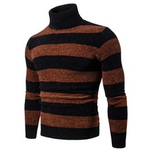 YM008 New men's high turtleneck jumper Striped knit Under sweater Autumn and Winter Clothing men's Sweater