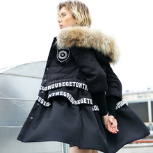 2016 winter Jacket Women down Jackets REAL Fur Hooded medium-long patchwork down coat Women's downs coats slim outerwear