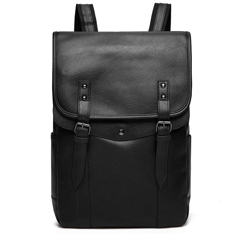 Vintage Black Men Backpack PU Leather Waterproof Male Backpack With Double Belt Mochila Travel Bag Man Laptop Boy School Bag NEW