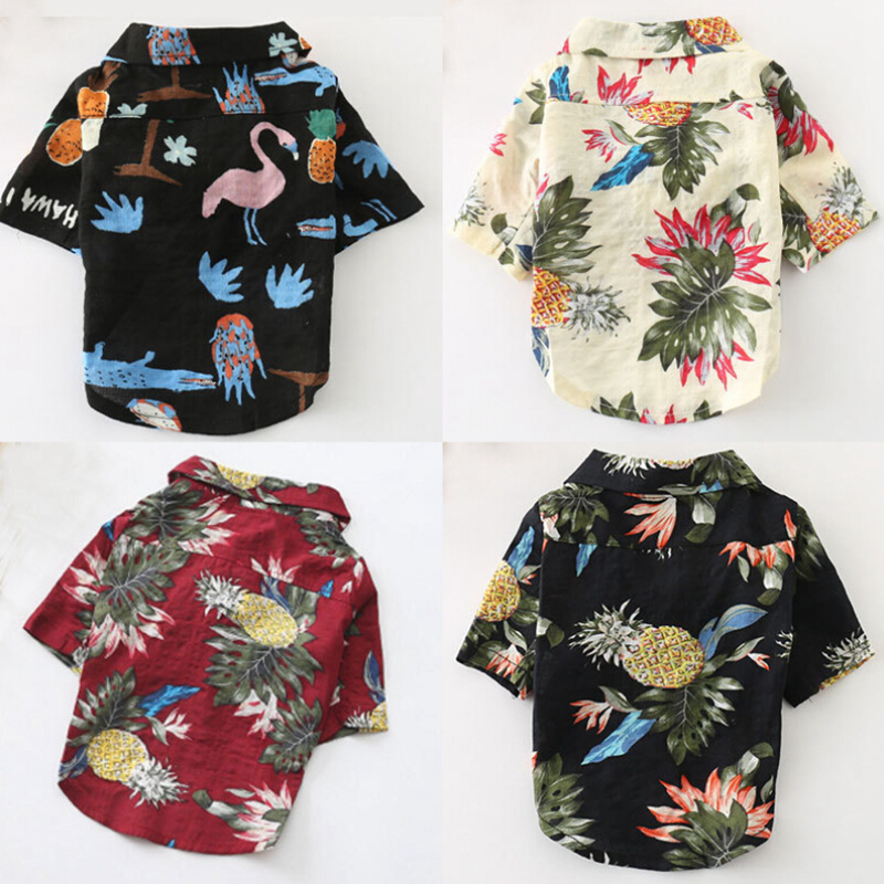 Summer Beach Shirt Dog Cute Print Hawaii Beach Casual Pet Travel Shirt Pineapple Flamingo Short Sleeve Small Dog Cat Blouse