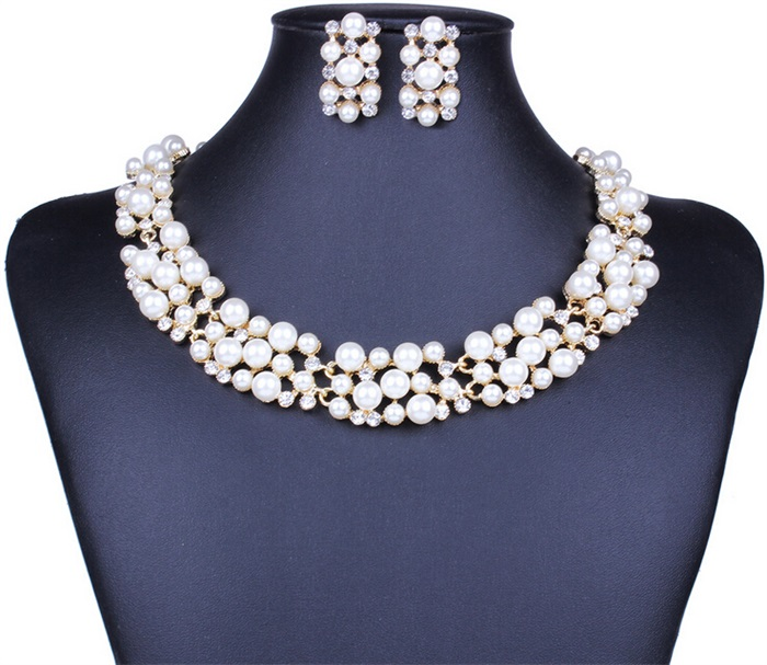 Elegant Simulated Pearl Bridal Jewelry Sets Wedding Jewelry Leaf Crystal Gold Silver Color Necklaces Earrings Sets