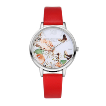 Model LVPAI Silver Watch Ladies Style Butterfly Rose Dial Watches Ladies's Luxurious Model Leather-based Quartz Watch Ladies Gown Watch