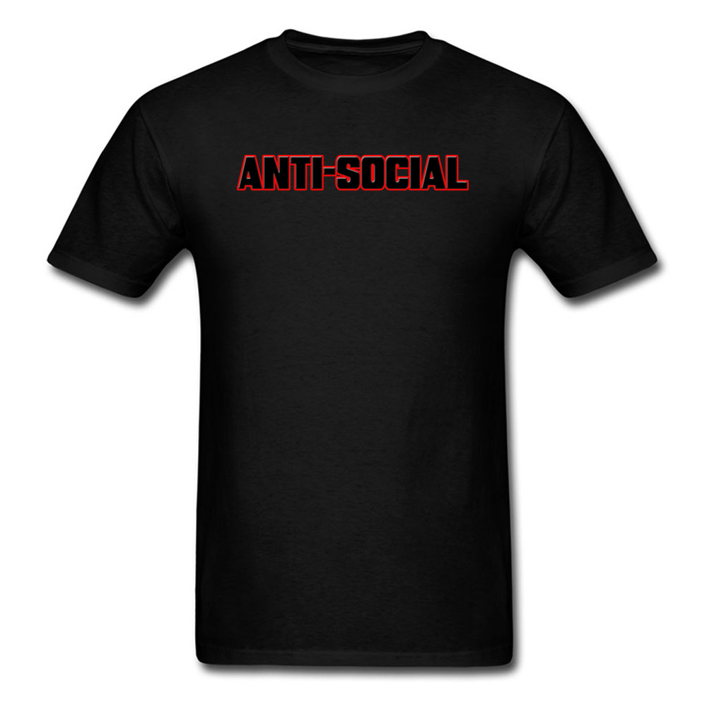 ANTI-SOCIAL Custom Group Men T-shirts Black Red Short Sleeve Cotton Tops Letter Printed Tees 2018 BEHAVIOR