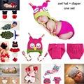2016 Hot Sale Baby Newborn Beanie Owl Knit Crochet Hat children baby Photo Props crochet clothes  MZS-15022