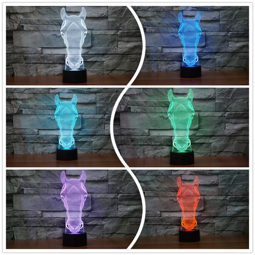 3D Iluminação Da Lâmpada Mudança de 7 Cores Do Bebê Luz Da Noite Criança Pequeno Animal Cabeça de Cavalo Decoração de Mesa Luminaria CONDUZIU a Lâmpada de Projeção