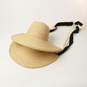 Image 3 - Шляпа от солнца USPOP женская с широкими полями, соломенная Складная Панама ручной работы, из рафии, в винтажном стиле, лето