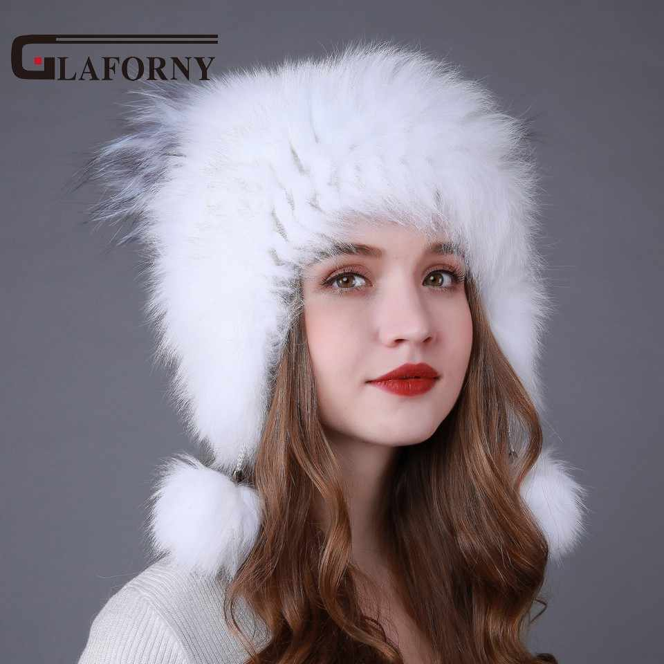 0034824e9e5 ... Glaforny 2018 New Style Knitted Fox Fur Hats Women Warm Fur Bomber Hats  Fox Fur Pompoms ...