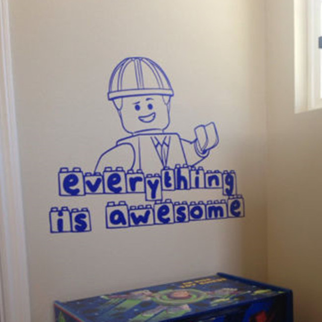 Wall Decal Everything Is Awesome,Lego Wall Art Vinyl Stencil Kids Room  Cartoon Decor Children
