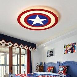 2018 dzieci lampy sufitowe LED kapitan ameryka z pilot zdalnego sterowania dla sypialnia pokój do nauki lampa lamparas de techo abajur w Oświetlenie sufitowe od Lampy i oświetlenie na