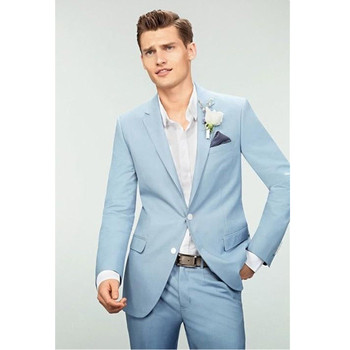 Fashionable new men's suit light blue lapel single-breasted men's ball gown and groom wedding dress (jacket + pants) custom made