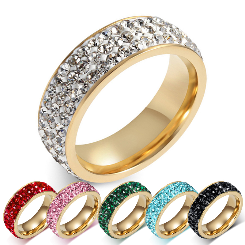 Wedding Rings Silver/Black/Blue/Green/Pink/Red Crystal For Women ...