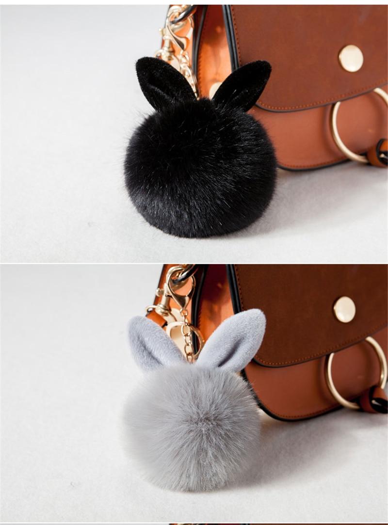 2017 Fur Pom Pom Keychain Fake Rabbit fur ball key chain porte clef pompom de fourrure pompon Bag Charms bunny keychain Keyring 29