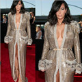 Grammy Awards Kim Kardashian Celebrity Dresses Sexy V-neck Font Split Gold Sequins Long Sleeve Evening Gowns Formal Dress