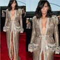 Kim Kardashian Grammy Awards Celebridade Vestidos Sexy Com Decote Em V Da Fonte Dividir Lantejoulas de Ouro de Manga Longa Vestidos de Noite Vestido Formal