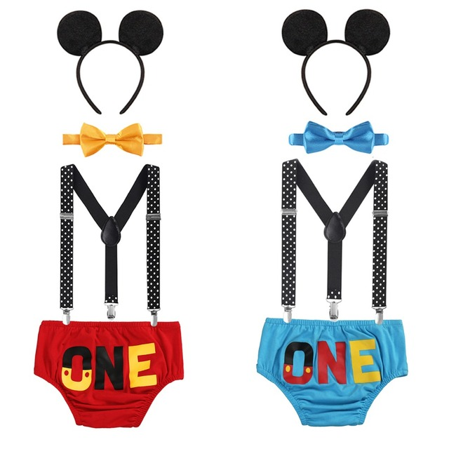 4pcs Set Baby Boy Girl Mickey Mouse Clothing 1st Birthday Party Cake Smash Outfit Pants Suspenders