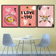 HD Prints Pictures For Kids Room Home Decor Cartoon Heart I Love You Modern Canvas Paintings Princess Wall Art Nordic Poster(China)