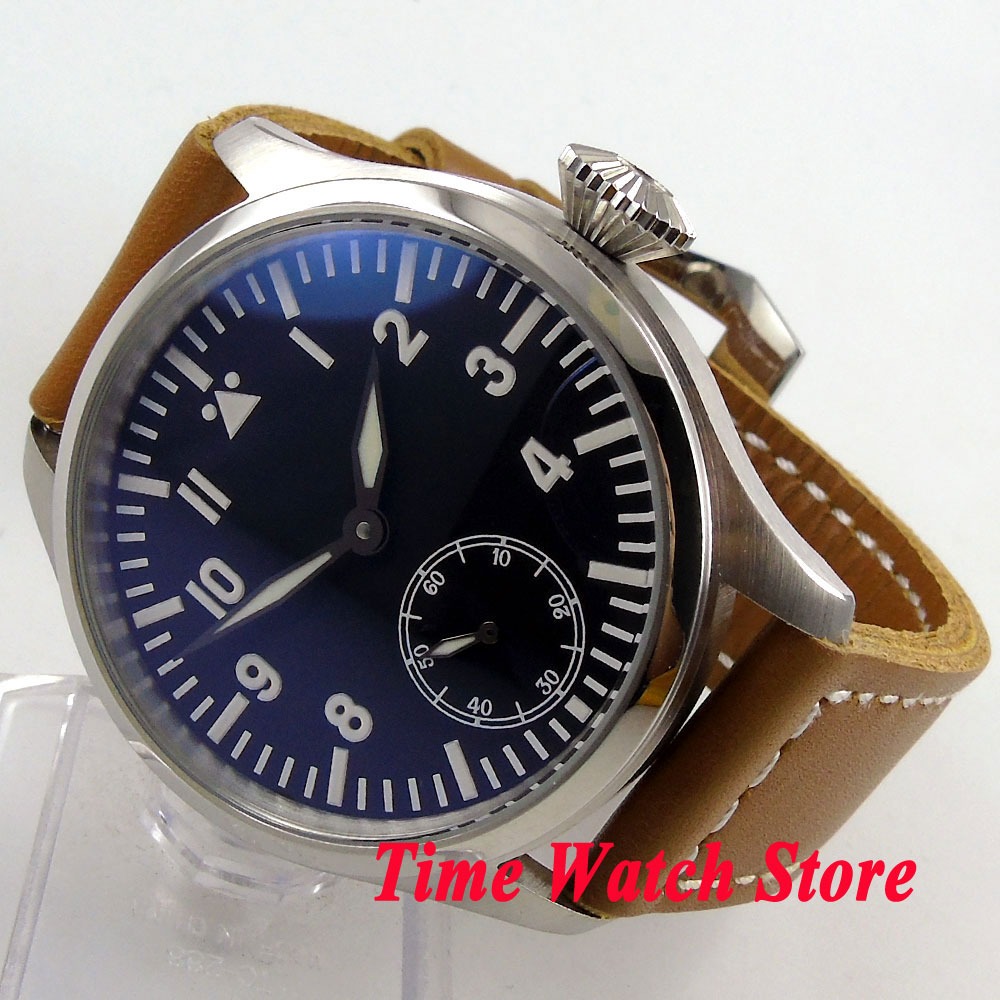 Parnis 47mm black dial small second hand super blue luminous 17 jewels 6498 hand-winding mens watch 287Parnis 47mm black dial small second hand super blue luminous 17 jewels 6498 hand-winding mens watch 287