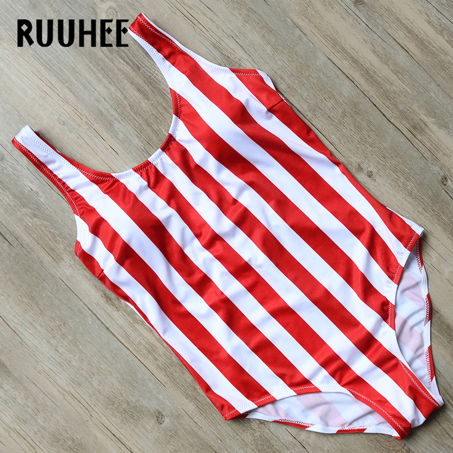RUUHEE Official Store RUUHEE One Piece Swimsuit Swimwear Women 2017 Bodysuit Push Up Bathing Suit Red  White Stripe Swimming Suit Monokini With Pad