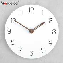 Mandelda New Wooden 12inch Wall Clock Silent Digital Clocks Home Decor Modern Design For Living Room